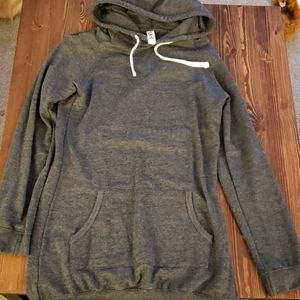 Really long grey hooded sweater